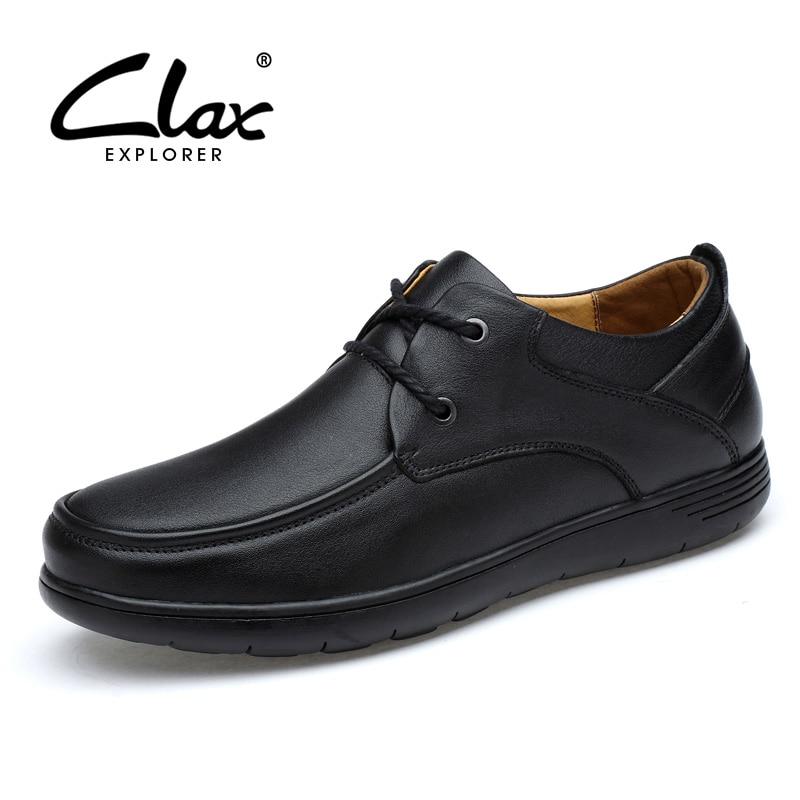 CLAX Mens Derby Shoes Genuine Leather Dress Shoe Male derbi Office Footwear Soft elegant Formal Shoe