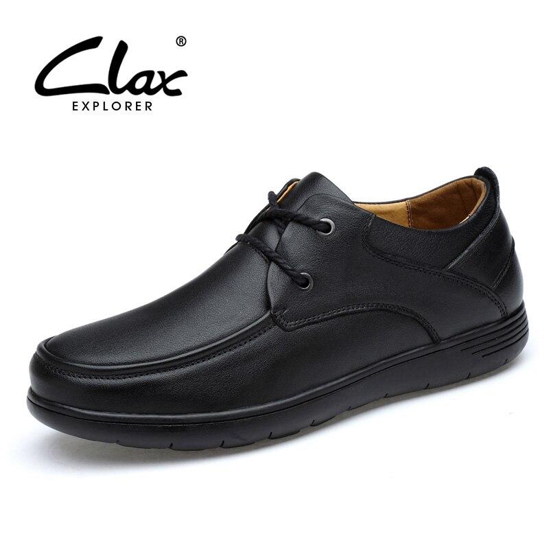 CLAX hommes Derby chaussures en cuir véritable robe chaussure mâle derbi bureau chaussures doux élégant formel chaussure homme classique-in Chaussures d'affaires from Chaussures    1