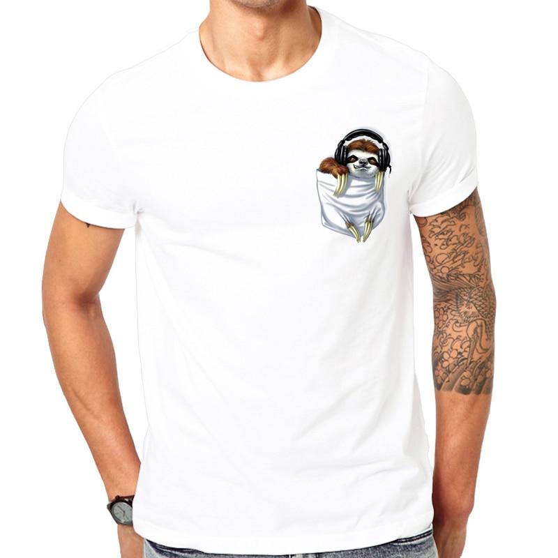 2019 fashion popular Little sloth Print   t     shirt   men Comfortable white   t  -  shirt   men's short sleeve tshirt Top quality Cool pocket