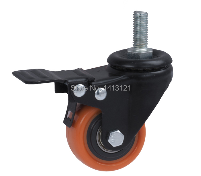 free shipping  caster Screw universal trolley wheel pu muted wheel  with brake equipment wheel hardware part lumion бра lumion gella 3061 1w