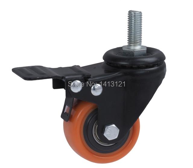 free shipping  caster Screw universal trolley wheel pu muted wheel  with brake equipment wheel hardware part
