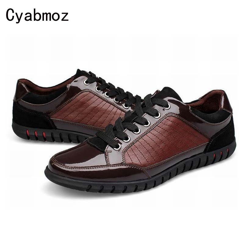 ФОТО 2017 fashion patchwork men genuine leather outdoor casual shoes flat platform high quality patent leather male dress shoe oxford