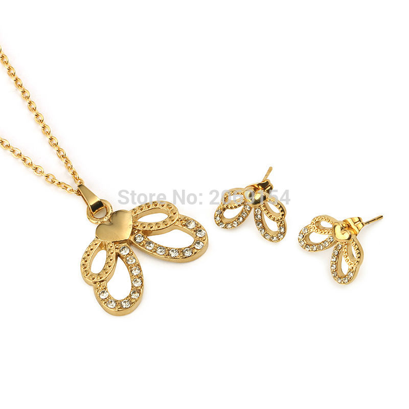 Fashion Gold Necklace Earring For Women Charm Jewelry Sets For Party Stainless Steel Choker Necklace Beautiful Pendant