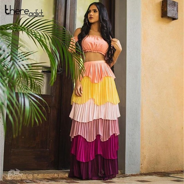 17dc169adb Ruffle Multi Color Dress Women Sexy Strapless Layered Tiered Chiffon Dress  Female Summer Beach Womens Two Piece Sets Dress