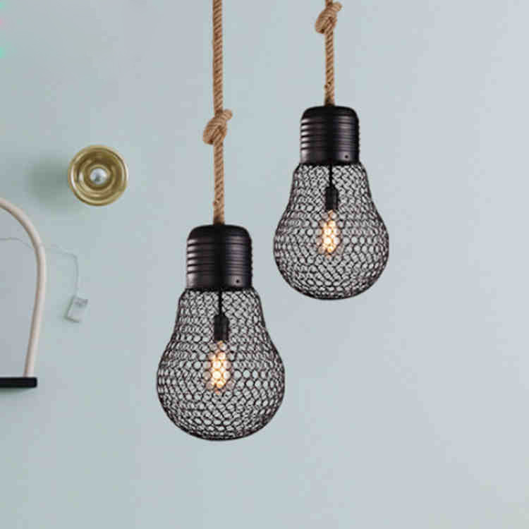 Vintage Loft Industrial American Country Iron Herm Rope Edison Mesh Pendant Lamp Kitchen Dinning Living Room Home Decor Lighting american edison loft style rope retro pendant light fixtures for dining room iron hanging lamp vintage industrial lighting