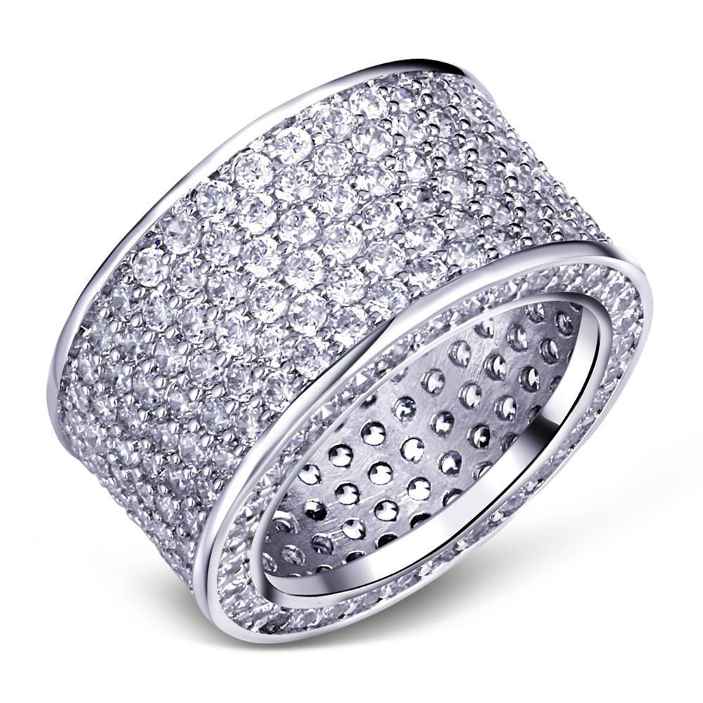 Luxurious Jewelry Paragraph 925 Sterling Silver Gemstone Rings Finger Shining 320pcs Full Simulated Diamond Ring for Women MEN exquisite gemstone embellished vivid alloy finger ring for women