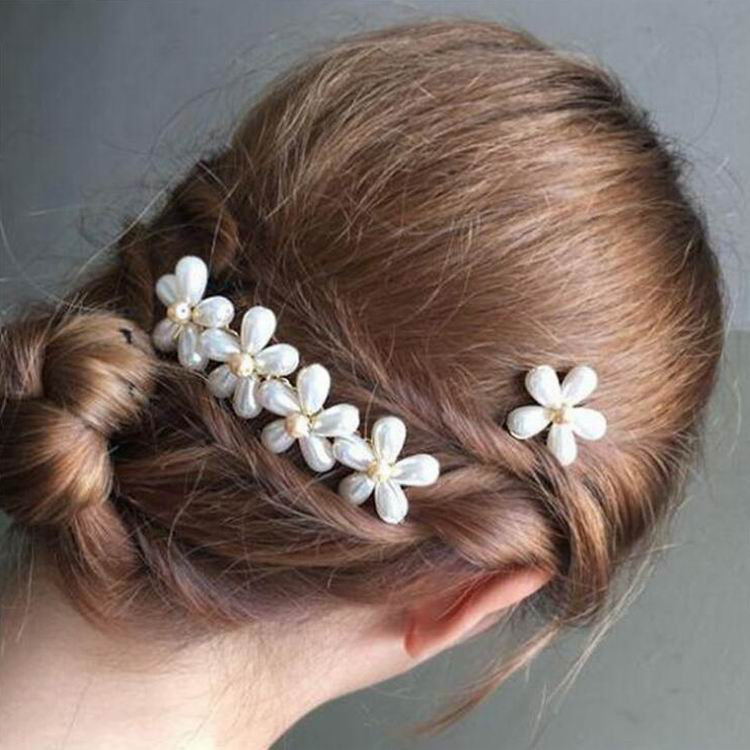 Women Pearl Flower Hair Clip Hairpin for Wedding Bridal Hairstyle Accessories