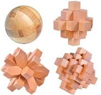 4PCS/Set Classic IQ Wooden Puzzle Brain Teaser Burr Interlocking Puzzles Game Toys for Adults Children