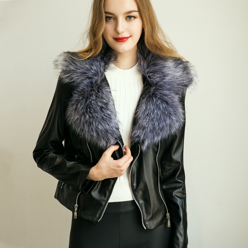 2016 new faux fur leather fox fur jacket zipper winter. Black Bedroom Furniture Sets. Home Design Ideas