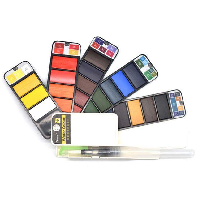 Juego de pinturas de pigmento de alta calidad 18/25/33/42 colores acuarela sólida con pincel de agua para pintar acuarelas suministros de arte