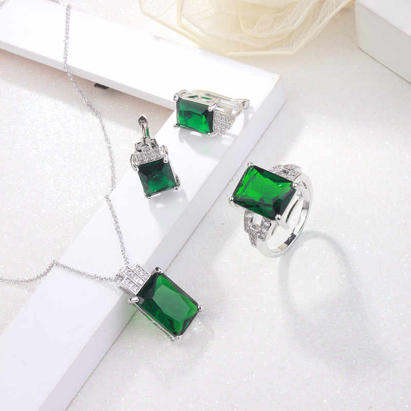 CC Schmuck Mode Schmuck-Set Für Frauen 925 Sterling Silber Schmuck Grünen Stein CZ Hochzeit Sets Ohrring Halskette Ring CCAS119