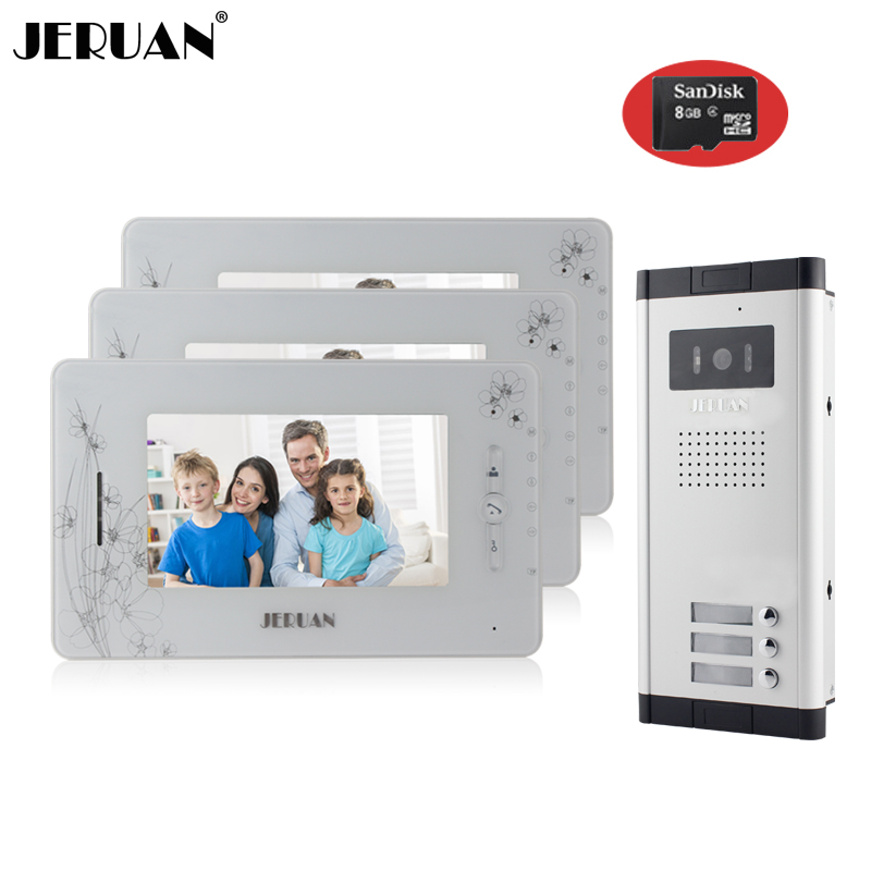 JERUAN Brand New Apartment Intercom 7`` LCD Video Door Phone Doorbell intercom System for 3 house 1V3+8GB card+free shipping new apartment doorbell intercom 7 lcd touch key video door phone intercom system 1camera 10 monitors for 10 house free shipping