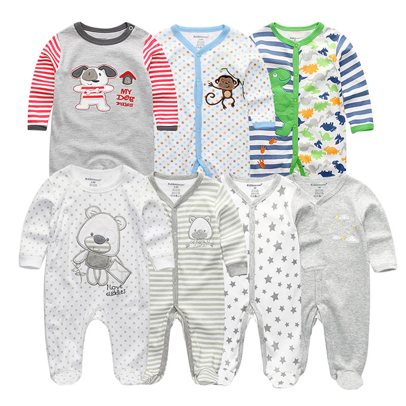 7 PCS/lot newbron baby rompers full Sleeve Cottom O-Neck 0-12M Novel Newborn Boys&Girls Roupas de bebe Baby girl romper baby rompers o neck 100