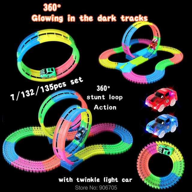 3styles Track Car 360 Stunt Loop Bend Flex Slot Diy Glow Electric Race In The Dark Led Light Educational Toy Gift