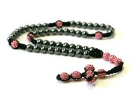 Free Shipping Shamballa Style Rosary Necklace Hematite Pink Crystal Disco Ball Shamballa Jewelry