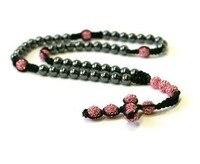 Free Shipping Shamballa Style Rosary Necklace Hematite Pink Crystal Disco Ball Shamballa Jewelry