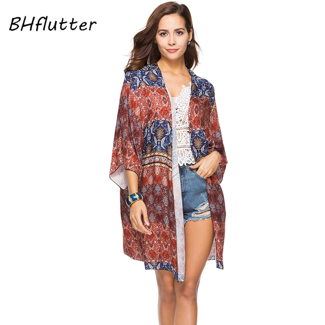 BHflutter Blouse Shirt Women Half Sleeve Open Stitch Casual Summer Blouses  New Fashion 2018 Boho Style Beach Tops Cover-ups 0d3ce735a