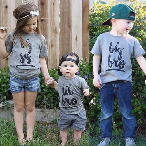 2018 Casual Kids Baby T-Shirts Little Big Brother Sister Family Matching Outfits T-Shirts Short Sleeve Summer Matching T-shirts