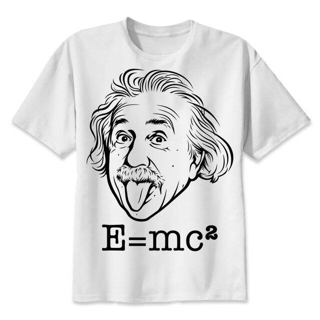 57f6350c0 Albert Einstein Gênio t shirt Homens Imprimir Camisetas Impressão de Moda  T-shirt de Manga