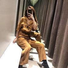 2-piece Set Women Solid Short Shirt + Pants Casual Loose Wide Leg Suit Spring Female Fashion Slim