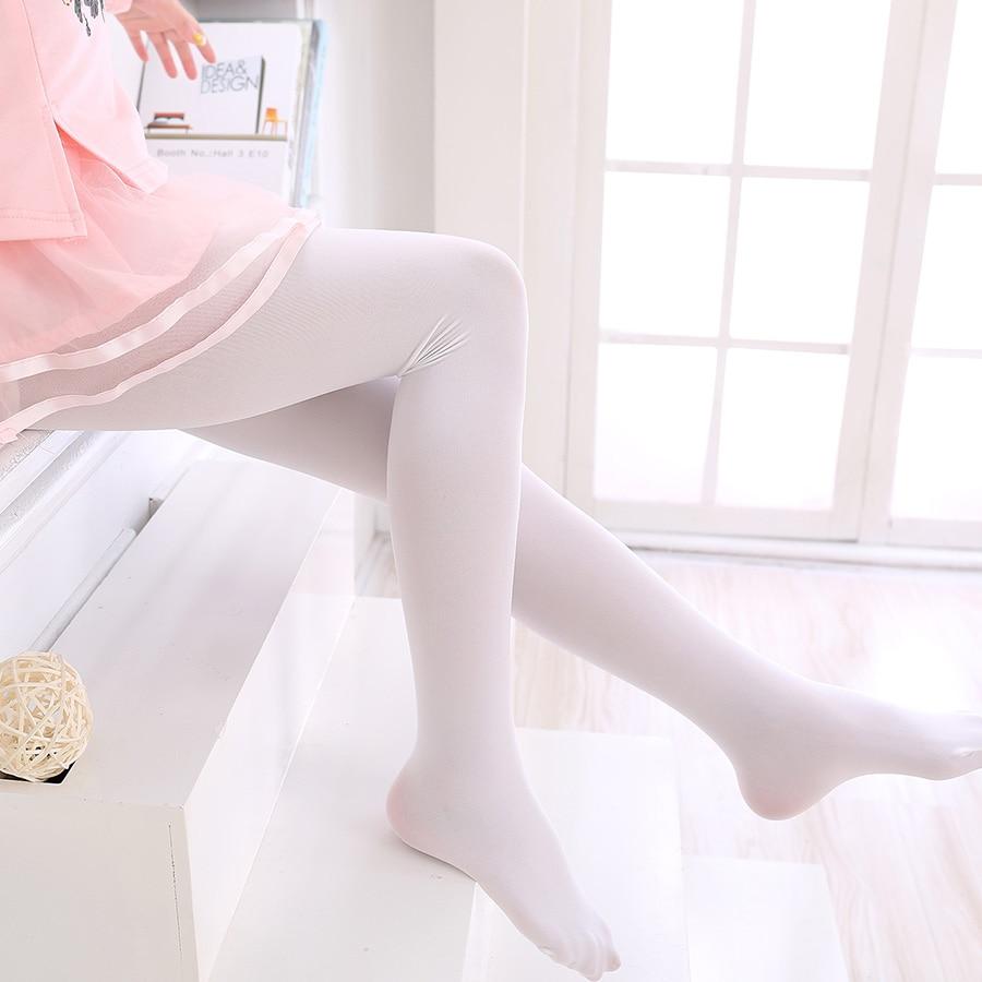 Kaus kaki tari anak, Pantyhose musim panas beludru putih elastis anak perempuan kaus kaki balet, Kaus kaki menari