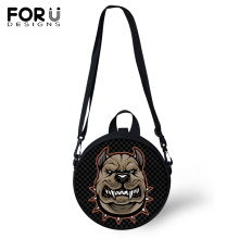 цены FORUDESIGNS Pitbull Dog Printing Messenger Shoulder Bag for Women Kids Circular Crossbody Bag Teenager Girls Boys Satchel 2019