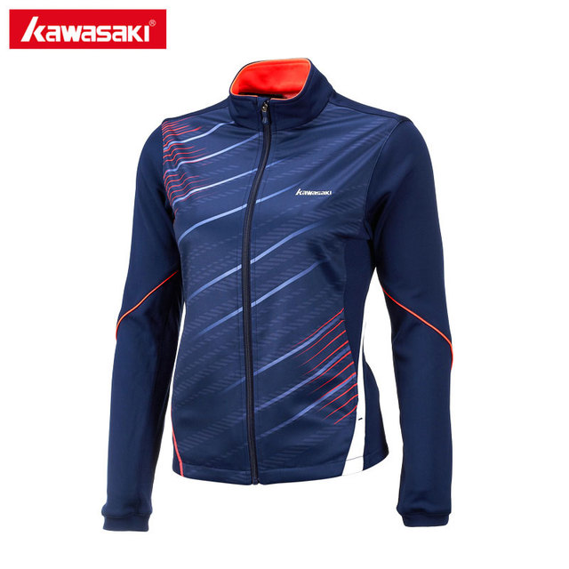Kawasaki Sport Jacket Women Running Fitness Tennis Jackets 100% Polyester Breathable Quick Dry Blue Quality Cloths JK-17281