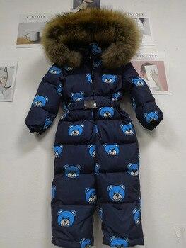 2019 Winter baby down coat Baby duck down suit outerwear Fur Hooded children's Snowsuit down coats Child jumpsuit romper ski