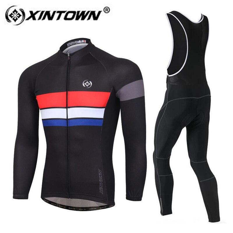 XINTOWN Cycling Jersey set 2018 Spring/Autumn Men Cycling Jersey Polyester Long Sleeve Set Gel Padded Bib Pants Suit Riding