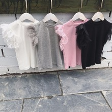Коллекция года, Детская Кружевная футболка с короткими рукавами для девочек детские летние однотонные топы, футболка одежда для маленьких девочек в японском и корейском стиле
