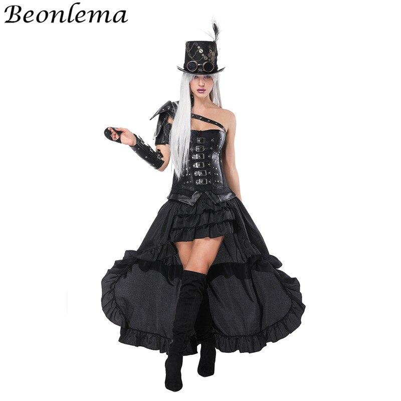 Beonlema surbuste Bustier cuir Steampunk Corset noir bras Shaper Punk Goth ceinture Rivet Korse robe Cosplay vêtements jupe longue