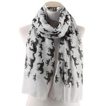 Winfox Fashion Animal Print Ladies Wrap Neck Shawl Soft Stole Pink Grey Black Unicorn Horse Scarf Womens