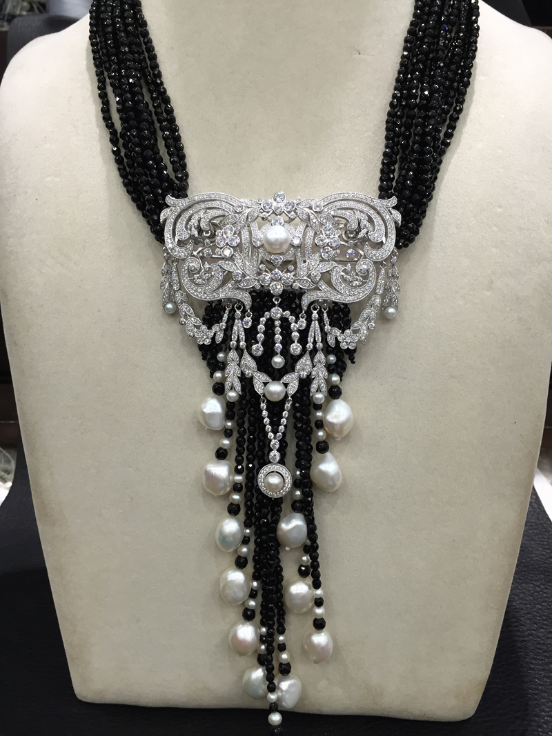 Black Onyx and white Fresh water Pearl pendant necklace double use 925 sterling silver with cubic zircon top quality groundwater land use and water quality