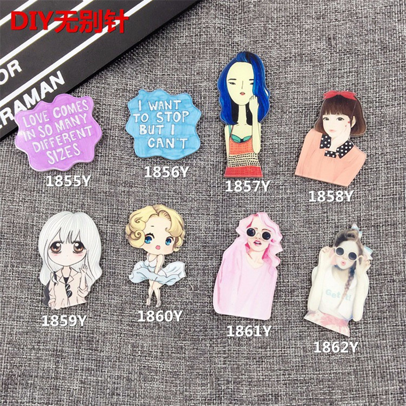 Jewelry Acrylic HARAJUKU costumes Badge cartoon creative lady Girl Women  Collar Tips Enamel BrocheXZ104