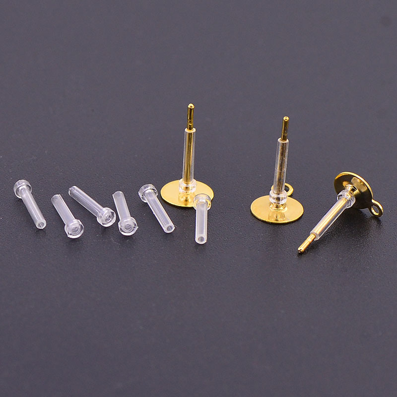 20PCS 8*2mm Stud Earrings Clutch Anti Allergy Back Plugs Sleeve Tube Protection Ears Safety Pad Protector DIY Jewelry Findings