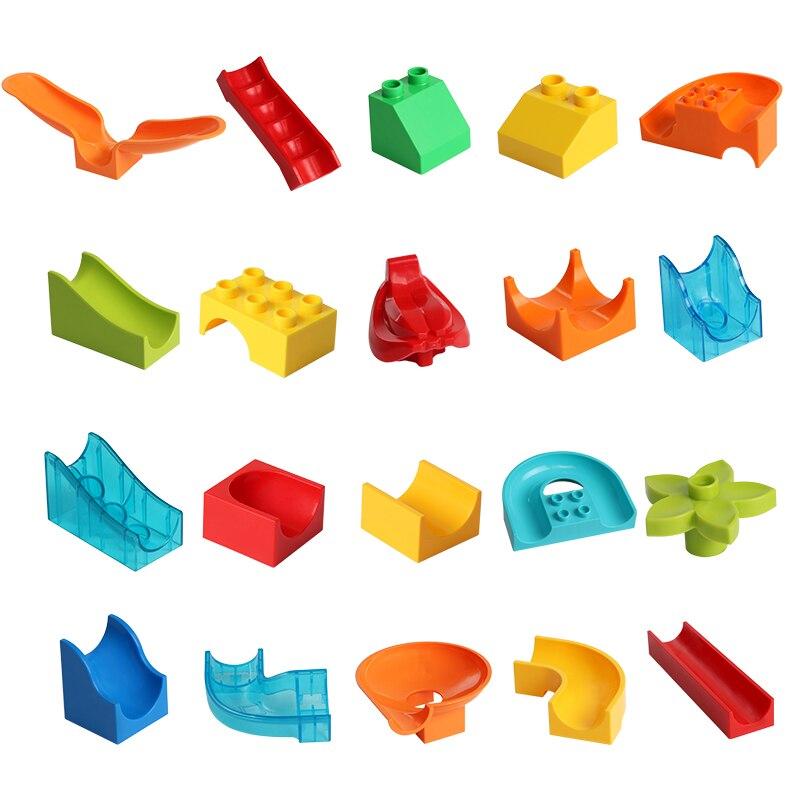 Model Building Blocks Adroit Duplos Big Building Blocks Ball Maze Race Run Track Accessories Compatible Legoingly Diy Bricks Slide Slideway Children Toy Gift