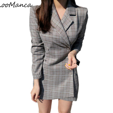 2018 New OL Spring Autumn Plaid Women Long Blazers Jackets Korean Long Sleeve Business Suit Fashion Women's Fall Coat