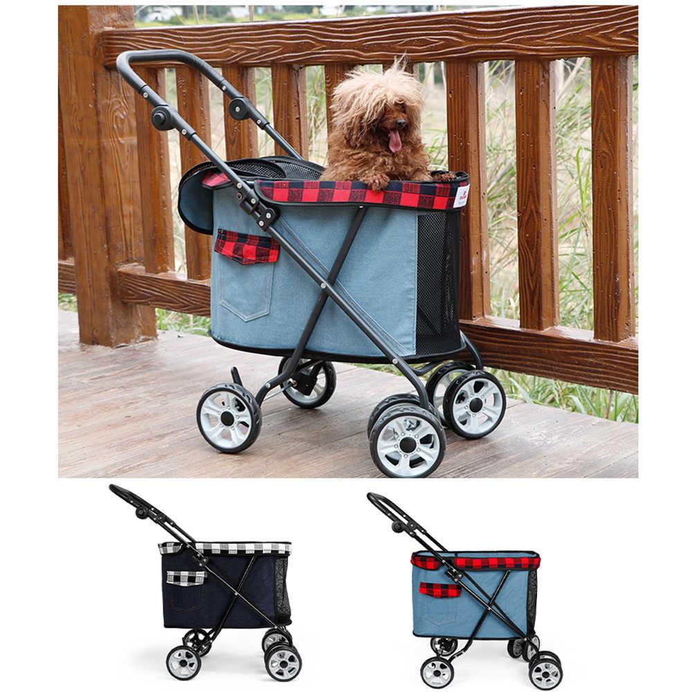 สัตว์เลี้ยงกลางแจ้งสุนัขรถเข็นเด็กสัตว์เลี้ยงสุนัขพับ Carrier รถเข็นใหม่ Out กระเป๋าเดินทางแบบพกพากระเป๋าสี่ล้อรถเข็นเด็กสุนัข carrier กระเป๋า