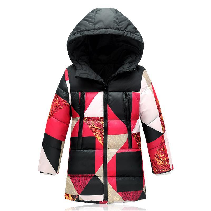 ФОТО 2016 Boys Long Winter Down Coats For Boy Patchwork Active Cotton Jackets Childrens Winter Clothing Outerwear Coats