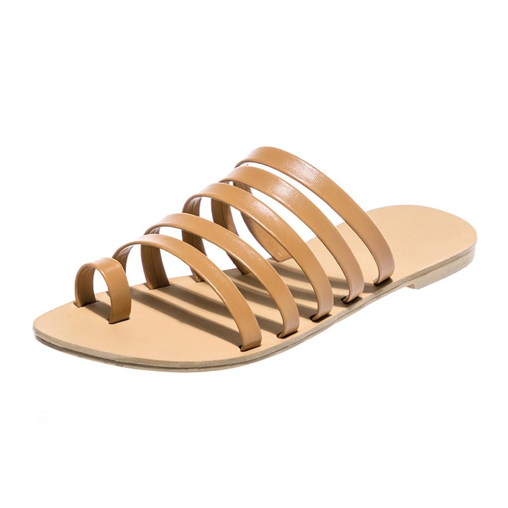 HTB16jzeLsfpK1RjSZFOq6y6nFXao Women Flat Sandals Summer 2019 Gladiator Sandals Ladies Strap Slippers Roman Female Flip Flops Outdoor Casual Sandales Femme