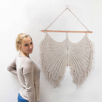Angel Wings Tapestry Sofa Bed Background Decoration Nordic Unique Handmade Macrame Bohemian Style Tassels Wall Hanging
