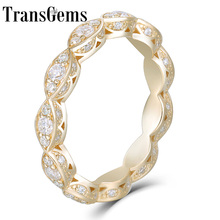 Transgems 14K Yellow Gold F Color Moissanite Engagement Wedding Band Milgrain Marquise Shape Vintage Fine Jewelry For Women solid 14k yellow gold 3x5mm marquise cut cubic zirconia cute women wedding ring cute girl fine jewelry size 3 9