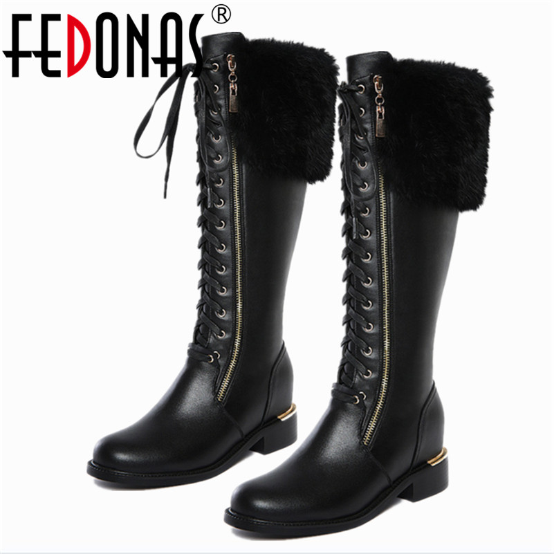 FEDONAS New Women Square Low Heel Riding Motorcycle Knee High Genuine Leather Winter Warm Snow Boots
