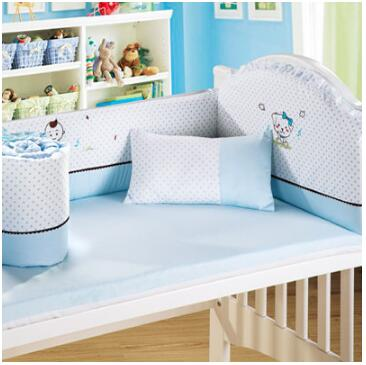 Embroidery Caroon 4 6 Pieces Baby Bedding Set 120x64cm 100 Cotton Boy Crib Sets Bumper For Cot Bed In From Mother Kids On