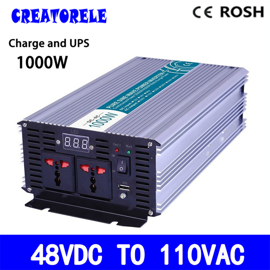 P1000-481-C pure sine wave 48v to 110v 1000w UPS inverter off grid solar inverter voltage converter with charger and UPS p800 481 c pure sine wave 800w soiar iverter off grid ied dispiay iverter dc48v to 110vac with charge and ups