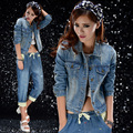New 2017 spring women outerwear slim patchwork long-sleeve denim short jacket lady vintage jeans jacket Coat Free Shipping