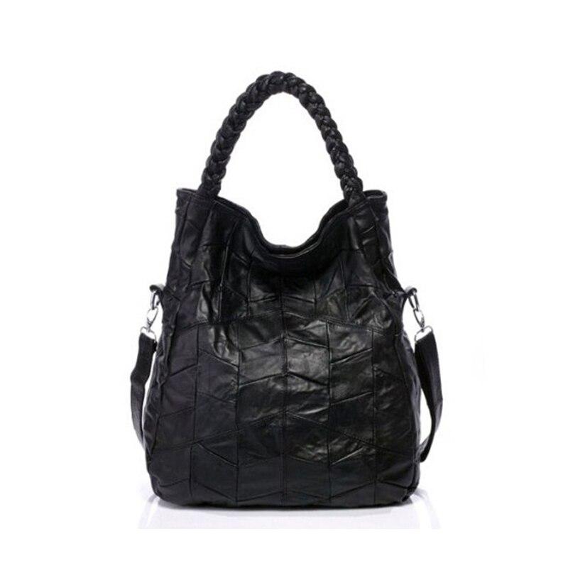 купить Hot Sale Women Handbag Retro Real Sheepskin Leather Woven Patchwork Wrist Casual Lady Shoulder Crossbody Shopping Tote Bag по цене 3365.88 рублей