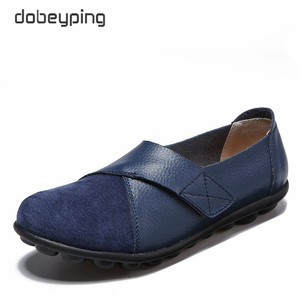 Image 5 - dobeyping New Spring Autumn Shoes Woman Genuine Leather Women Flats Slip On Womens Loafers Female Sewing Shoe Large Size 35 44