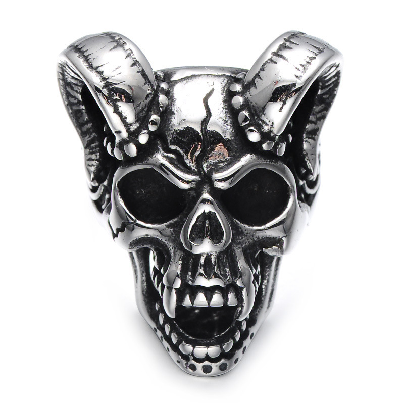 Sue Phil New 2018 Men Stainless Steel Rings Goat Head Hot Sale Punk Skull rings for Men Jewelry Gifts Drop Shipping