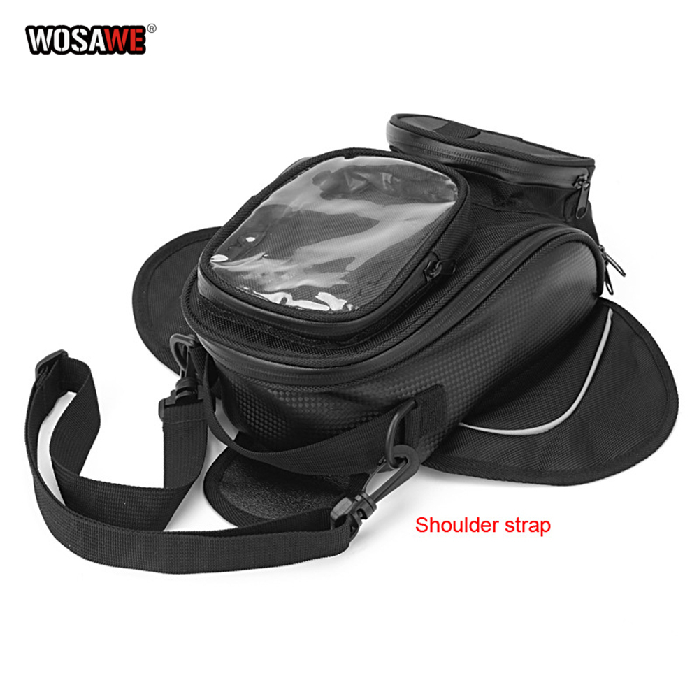 Image 5 - WOSAWE Motorcycle Tank Bags Magnetic Cell Phone GPS Navigation oil Tank Bag Fixed Straps Shoulder Bag Tail Bag With Rain Cover-in Tank Bags from Automobiles & Motorcycles